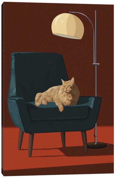 Cats In Fancy Chairs III Canvas Art Print