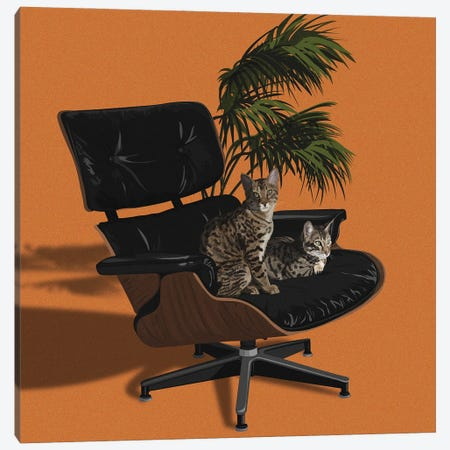 Cats In Fancy Chairs IV Canvas Print #ACU24} by Artcatillustrated Art Print