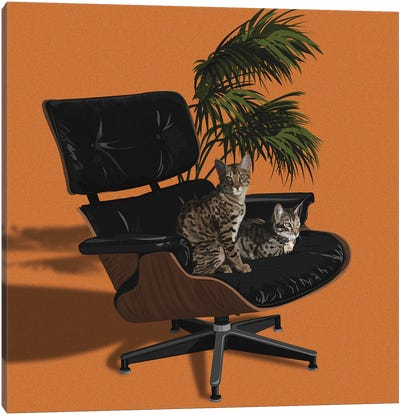 Cats In Fancy Chairs IV Canvas Art Print