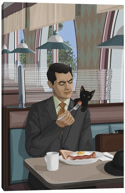 Man With A Cat Canvas Art Print
