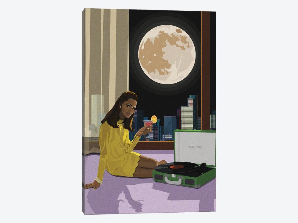 Moonlight Tunes by Artcatillustrated 1-piece Canvas Art Print