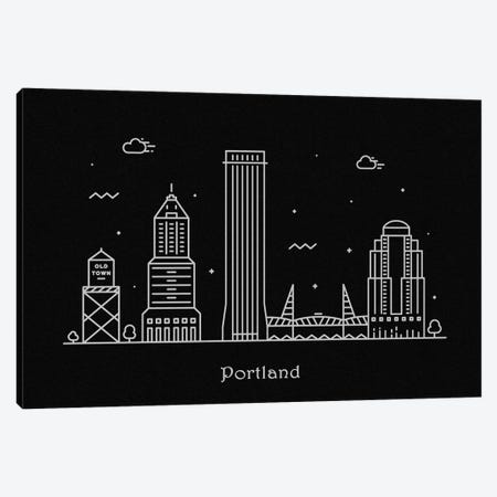 Portland Canvas Print #ADA101} by Ayse Deniz Akerman Canvas Artwork