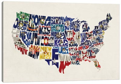 The States With Flags Canvas Art Print
