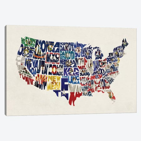 The States With Flags Canvas Print #ADA109} by Ayse Deniz Akerman Canvas Wall Art