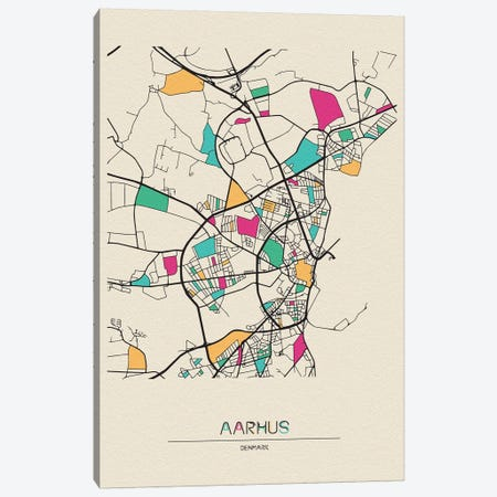 Aarhus, Denmark Map Canvas Print #ADA122} by Ayse Deniz Akerman Canvas Wall Art
