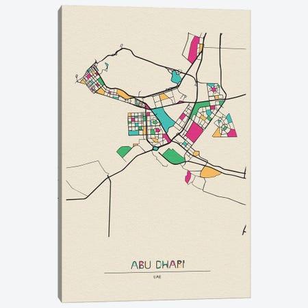 Abu Dhabi, Uae Map Canvas Print #ADA123} by Ayse Deniz Akerman Canvas Artwork