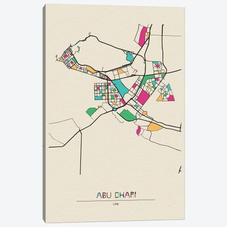 Abu Dhabi, Uae Map Canvas Print #ADA123} by Ayse Deniz Akerman Canvas Artwork