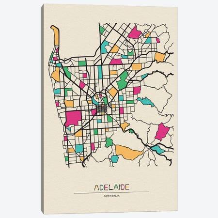 Adelaide, Australia Map Canvas Print #ADA124} by Ayse Deniz Akerman Art Print