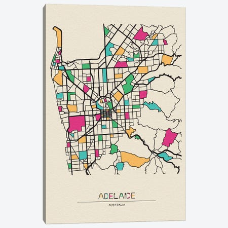 Adelaide, Australia Map Canvas Print #ADA124} by Ayse Deniz Akerman Art Print