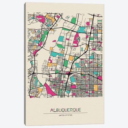 Albuquerque, New Mexico Map Canvas Print #ADA125} by Ayse Deniz Akerman Canvas Art Print