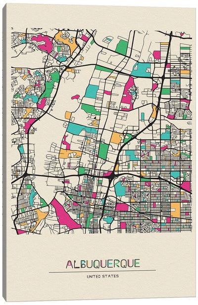 Albuquerque, New Mexico Map Canvas Art Print