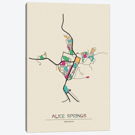 Alice Springs, Australia Map Canvas Print #ADA126} by Ayse Deniz Akerman Canvas Art Print