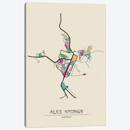 Alice Springs, Australia Map 3-Piece Canvas #ADA126} by Ayse Deniz Akerman Canvas Art Print