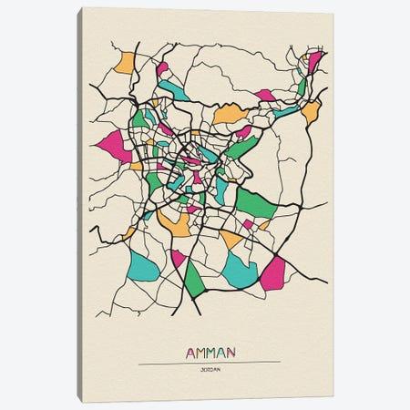Amman, Jordan Map Canvas Print #ADA127} by Ayse Deniz Akerman Canvas Art Print