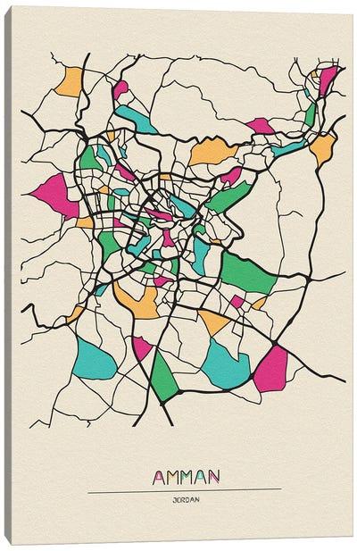 Amman, Jordan Map Canvas Art Print