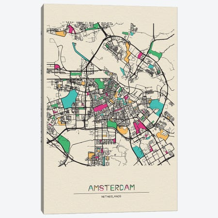 Amsterdam, Netherlands Map 3-Piece Canvas #ADA128} by Ayse Deniz Akerman Canvas Art