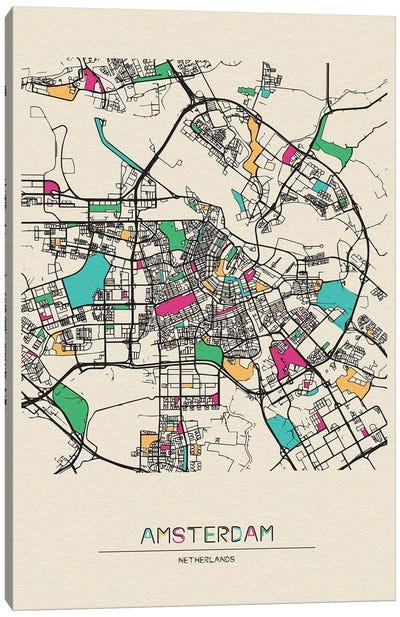 Amsterdam, Netherlands Map Canvas Art Print