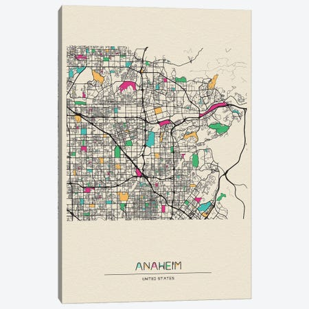 Anaheim, California Map Canvas Print #ADA129} by Ayse Deniz Akerman Canvas Wall Art