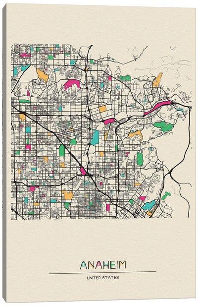 Anaheim, California Map Canvas Art Print