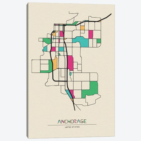 Anchorage, Alaska Map 3-Piece Canvas #ADA130} by Ayse Deniz Akerman Canvas Art Print