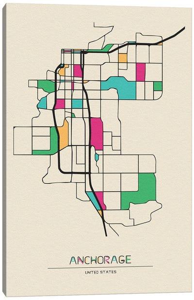 Anchorage, Alaska Map Canvas Art Print