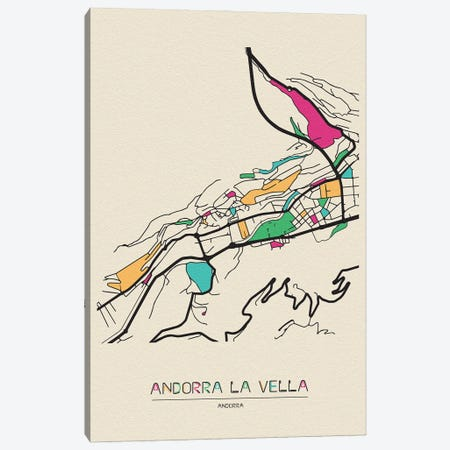 Andorra La Vella, Andorra Map Canvas Print #ADA131} by Ayse Deniz Akerman Art Print
