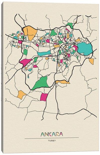 Ankara, Turkey Map Canvas Art Print