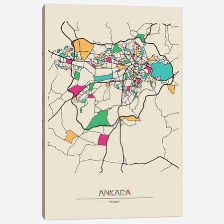 Ankara, Turkey Map Canvas Print #ADA132} by Ayse Deniz Akerman Canvas Print