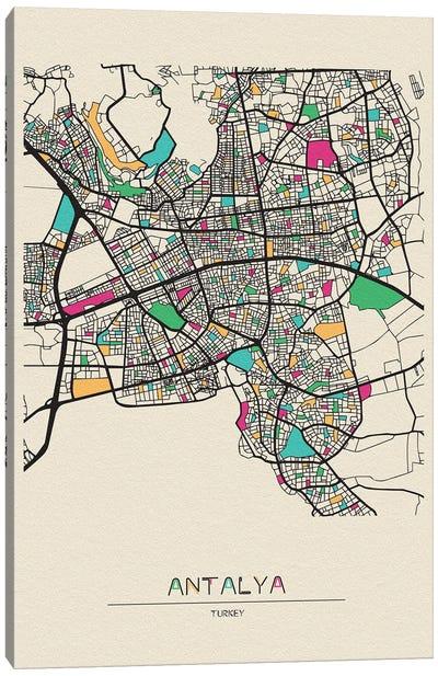 Antalya, Turkey Map Canvas Art Print