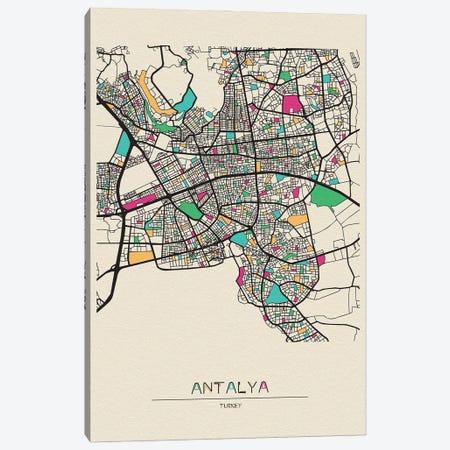 Antalya, Turkey Map Canvas Print #ADA133} by Ayse Deniz Akerman Canvas Art Print