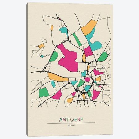 Antwerp, Belgium Map Canvas Print #ADA134} by Ayse Deniz Akerman Canvas Wall Art