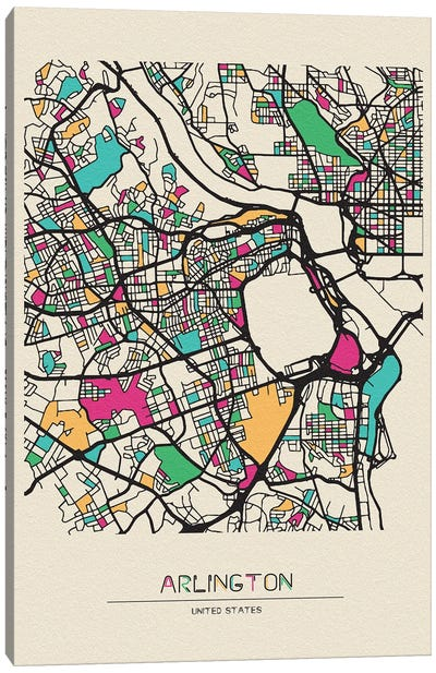 Arlington County, Virginia Map Canvas Art Print