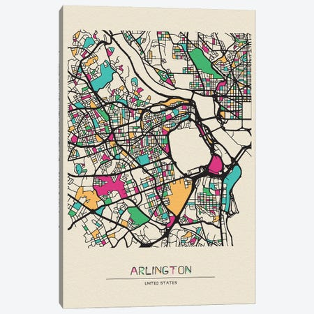 Arlington County, Virginia Map Canvas Print #ADA135} by Ayse Deniz Akerman Canvas Art