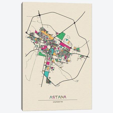 Astana, Kazakhstan Map Canvas Print #ADA136} by Ayse Deniz Akerman Canvas Artwork