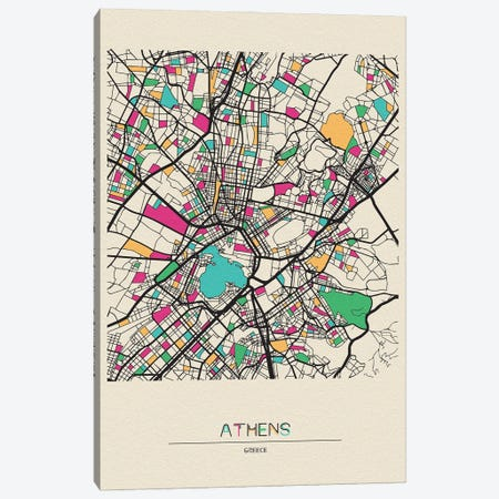 Athens, Greece Map Canvas Print #ADA137} by Ayse Deniz Akerman Canvas Wall Art
