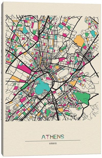 Athens, Greece Map Canvas Art Print