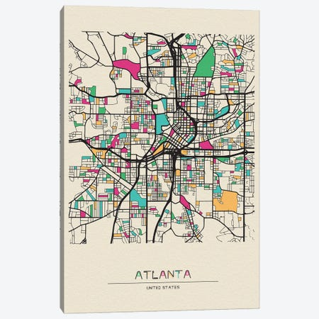 Atlanta, Georgia Map 3-Piece Canvas #ADA138} by Ayse Deniz Akerman Canvas Print