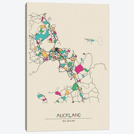 Auckland, New Zealand Map Canvas Print #ADA139} by Ayse Deniz Akerman Canvas Art Print