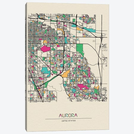 Aurora, Colorado Map Canvas Print #ADA141} by Ayse Deniz Akerman Canvas Wall Art