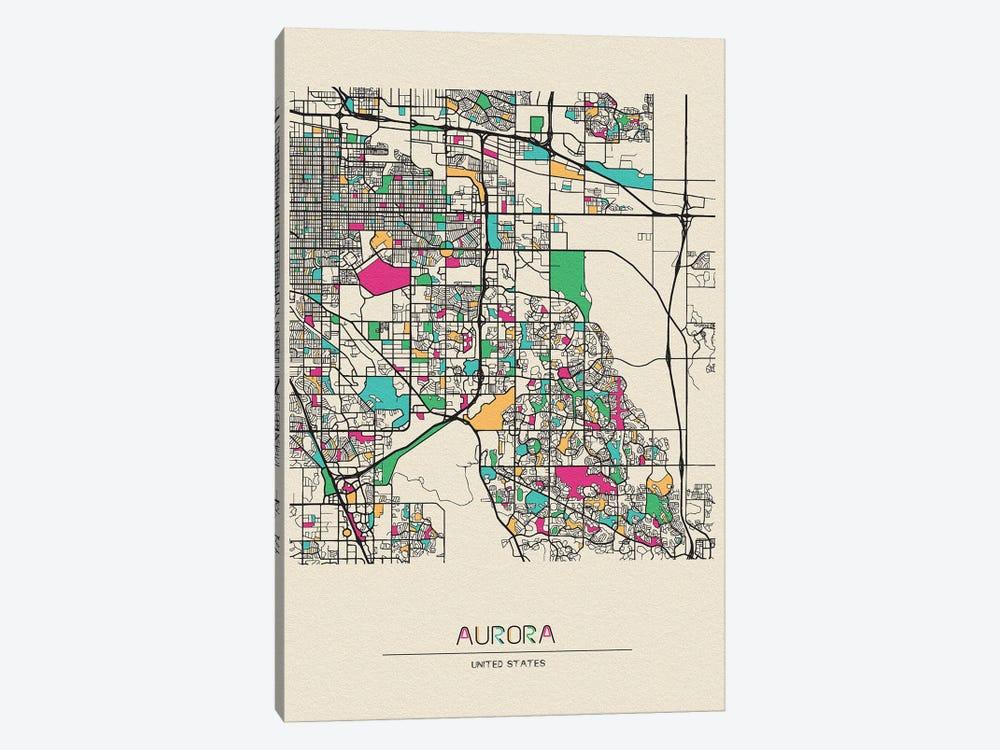 Aurora, Colorado Map by Ayse Deniz Akerman 1-piece Canvas Art Print