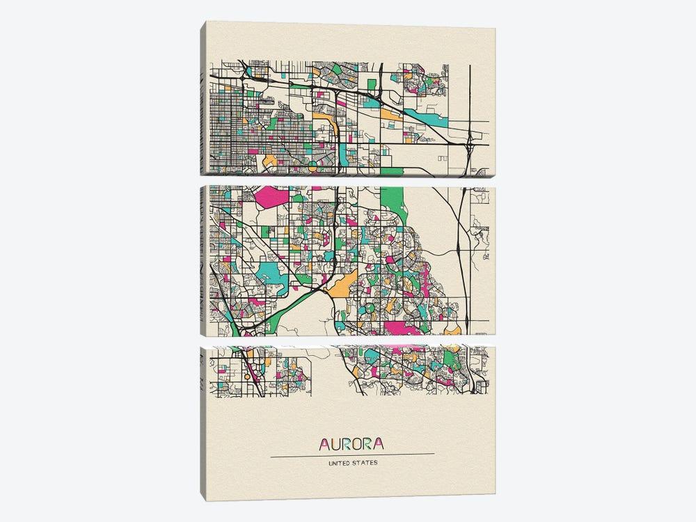Aurora, Colorado Map by Ayse Deniz Akerman 3-piece Canvas Art Print