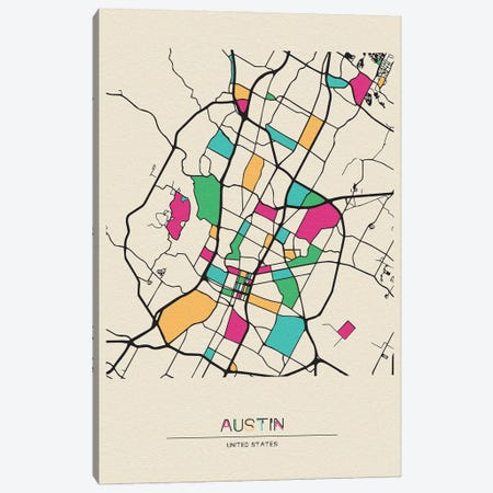 Austin, Texas Map Canvas Print #ADA142} by Ayse Deniz Akerman Canvas Wall Art