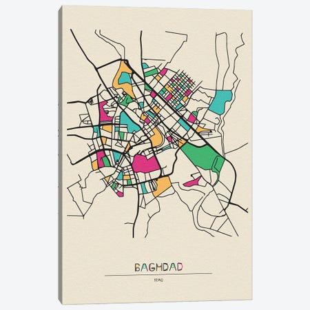 Baghdad, Iraq Map Canvas Print #ADA143} by Ayse Deniz Akerman Canvas Art