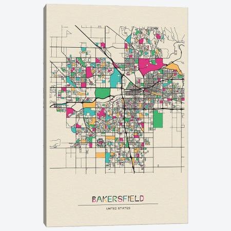Bakersfield, California Map Canvas Print #ADA144} by Ayse Deniz Akerman Art Print