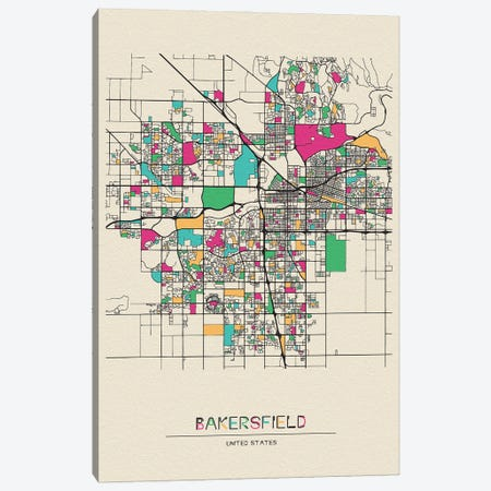 Bakersfield, California Map Canvas Print #ADA144} by Ayse Deniz Akerman Art Print
