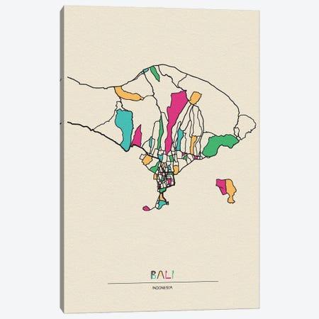 Bali, Indonesia Map Canvas Print #ADA146} by Ayse Deniz Akerman Art Print
