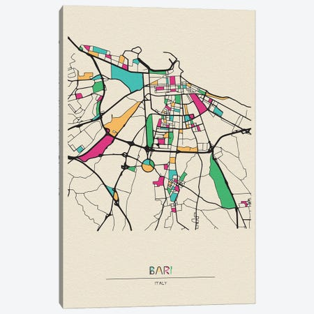 Bari, Italy Map Canvas Print #ADA147} by Ayse Deniz Akerman Art Print