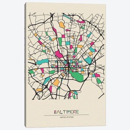 Baltimore, Maryland Map Canvas Print #ADA149} by Ayse Deniz Akerman Canvas Artwork