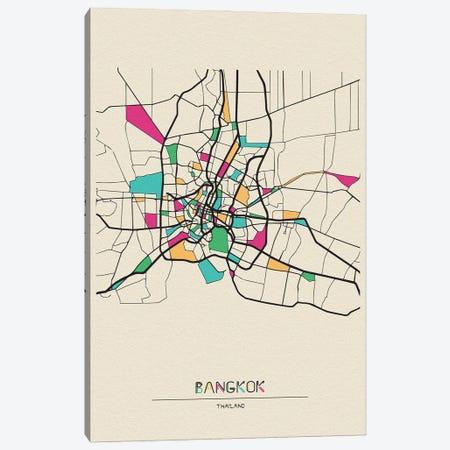 Bangkok, Thailand Map 3-Piece Canvas #ADA150} by Ayse Deniz Akerman Canvas Print