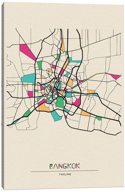 Bangkok, Thailand Map Canvas Art Print